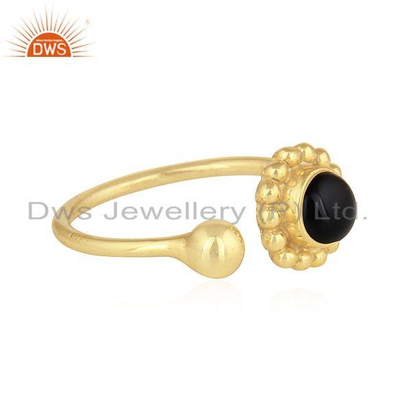 Exporter Flower Design 18k Gold Plated Silver Black Onyx Gemstone Ring Jewelry