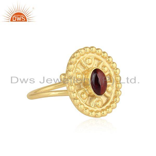 Exporter Hand Craved Gold Plated 925 Silver Garnet Gemstone Ring Jewelry