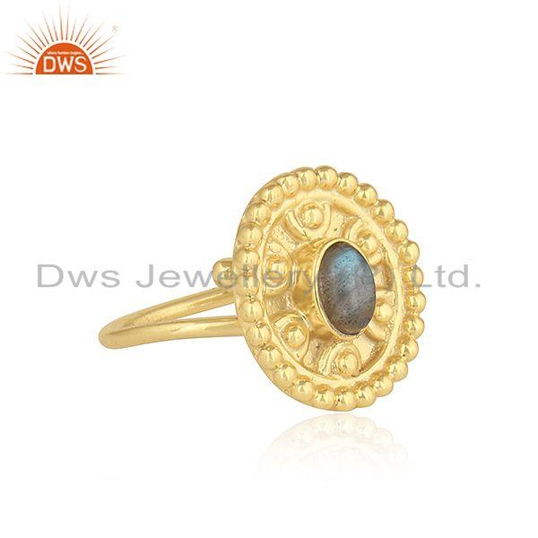 Indian 18k yellow gold plated silver labradorite gemstone ring jewelry