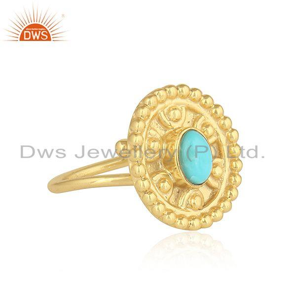 Arizona turquoise gold plated designer 925 silver womens rings jewelry