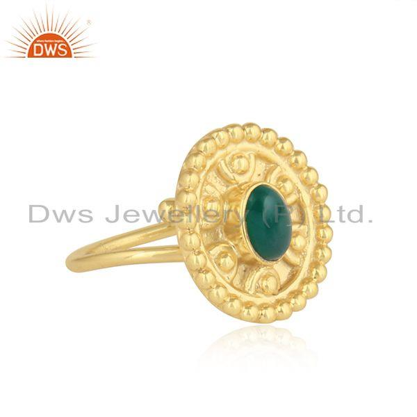 Designer 18k gold plated 925 silver green onyx gemstone rings