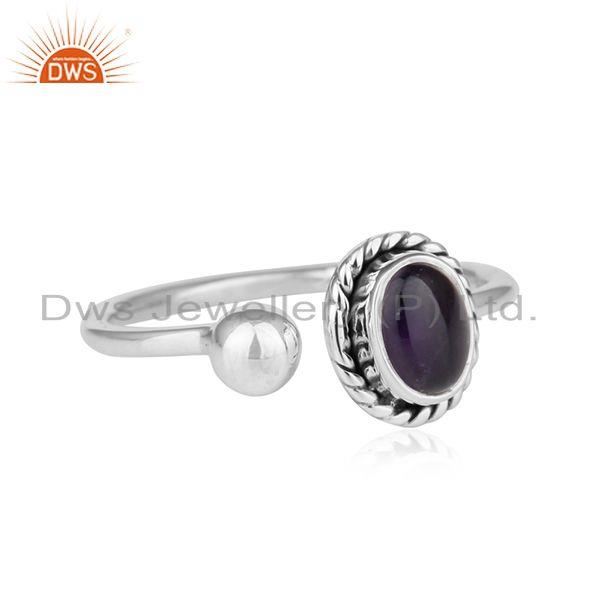 Exporter Antique Oxidized Sterling Silver Amethyst Gemstone Ring Jewelry