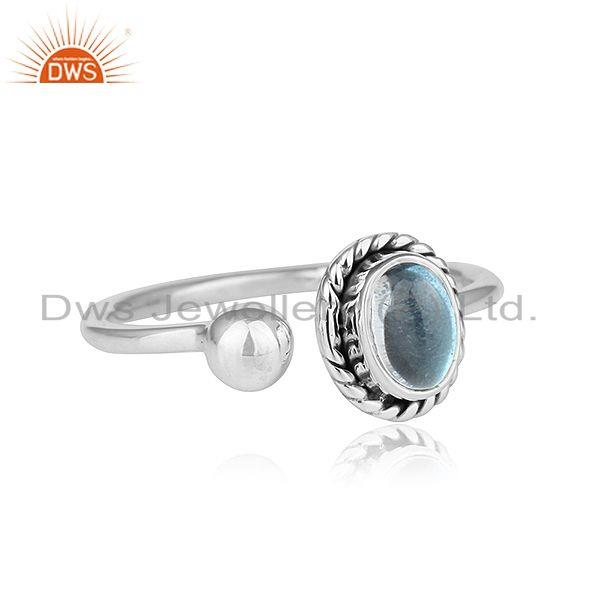 Exporter Blue Topaz Gemstone Oxidized Sterling Silver Handmade Rings Jewelry