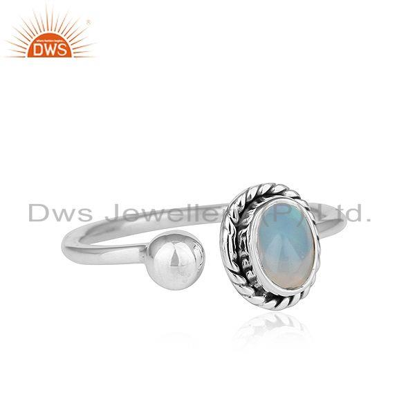 Exporter Ethiopian Opal Oxidized Plated Antique 92.5 Silver Designer Rings