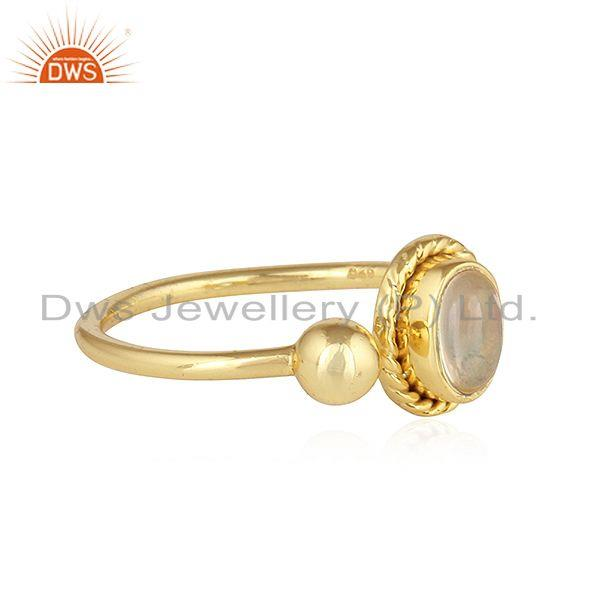 Exporter Designer Yellow Gold Plated 925 Silver Ethiopian Opal Gemstone Rings