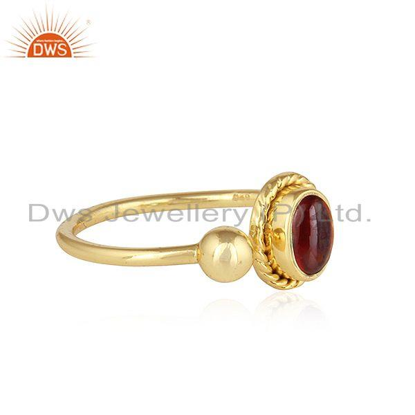 Exporter Natural Garnet 18k Yellow Gold Plated Designer Silver Ring Jewelry