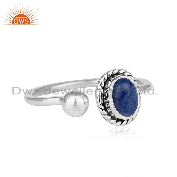 Exporter Natural Lapis Lazuli Gemstone Antique Sterling Silver Oxidized Rings