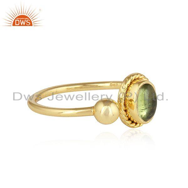 Exporter Peridot Gemstone Yellow Gold Plated Designer Silver Ring For Womens