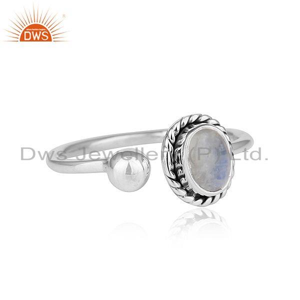 Exporter Rainbow Moonstone 92.5 Sterling Silver Oxidized Plated Ring For Womens