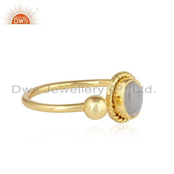 Exporter Rainbow Moonstone 18k Yellow Gold Plated Designer 925 Silver Rings