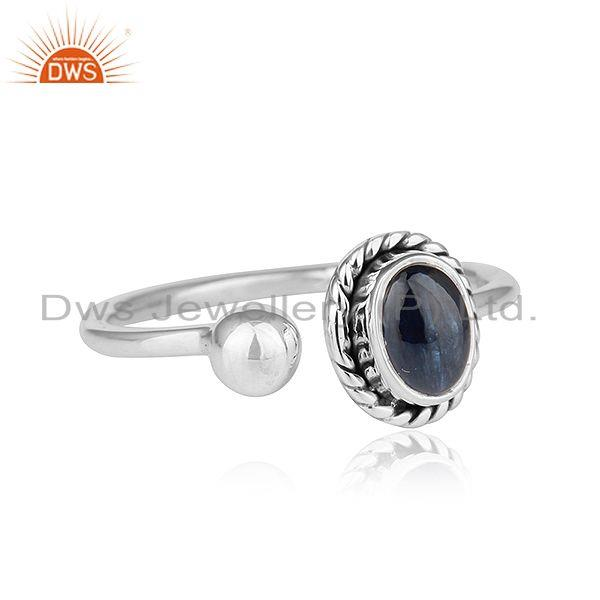 Exporter Natural Blue Sapphire Gemstone Designer Oxidized Silver Ring Jewelry