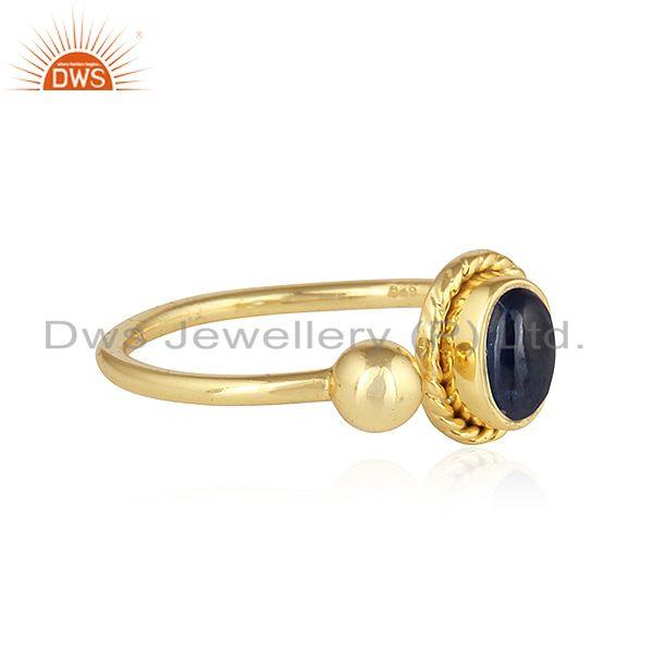 Exporter Natural Blue Sapphire Designer Gold Plated 925 Silver Ring Jewelry