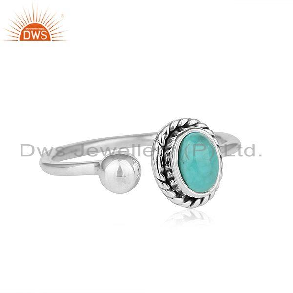 Exporter Arizona Turquoise Oxidized 92.5 Sterling Silver Ring Jewelry For Girls