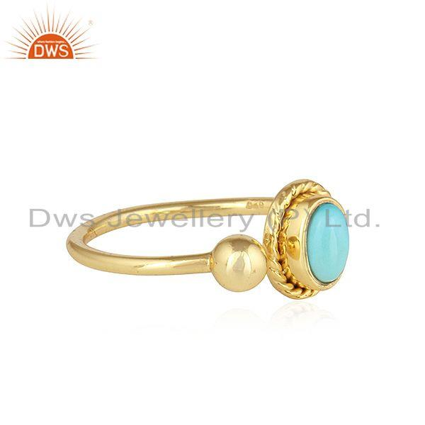 Exporter Arizona Turquoise Gemstone 925 Silver Gold Plated Designer Rings