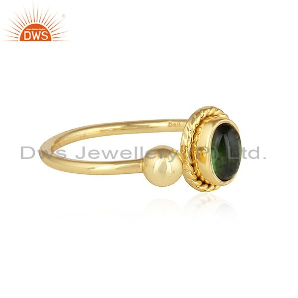 Exporter Green Tourmaline Gemstone Indian Gold Plated Silver Designer Rings