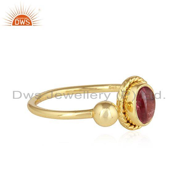 Exporter Pink Tourmaline Gemstone Womens Gold Plated Silver Ring Jewelry