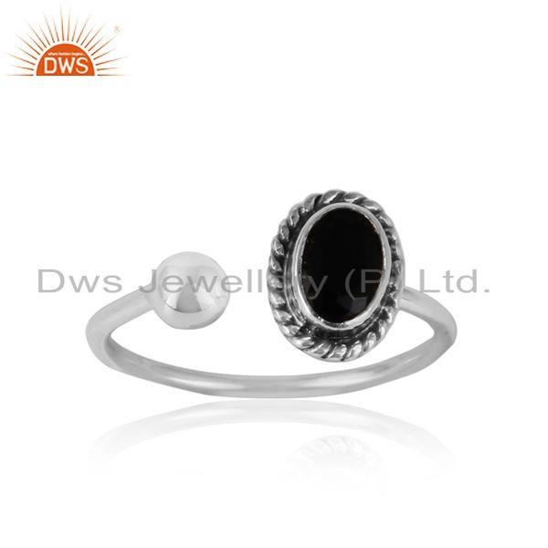 Black onyx handmade oxidized sterling silver designer ring