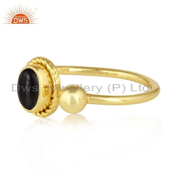 18k gold plated silver black onyx gemstone designer girls rings
