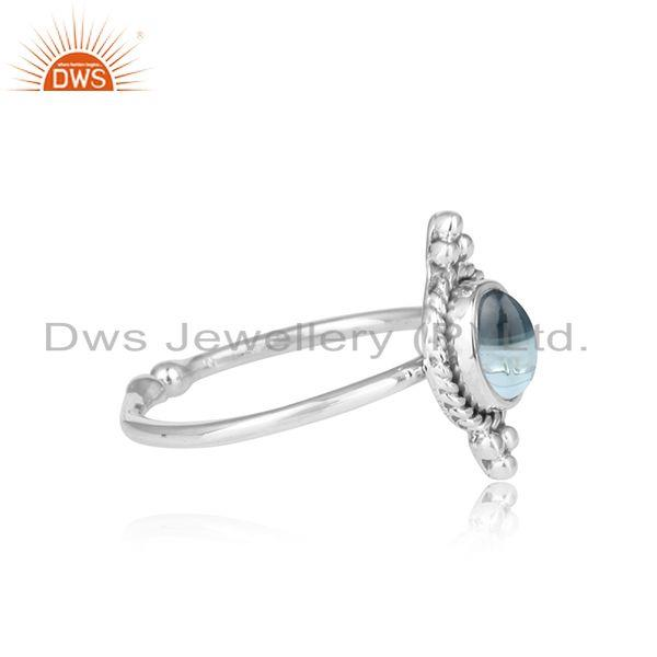 Exporter Blue Topaz Gemstone Oxidized Sterling Fine Silver Ring Jewelry