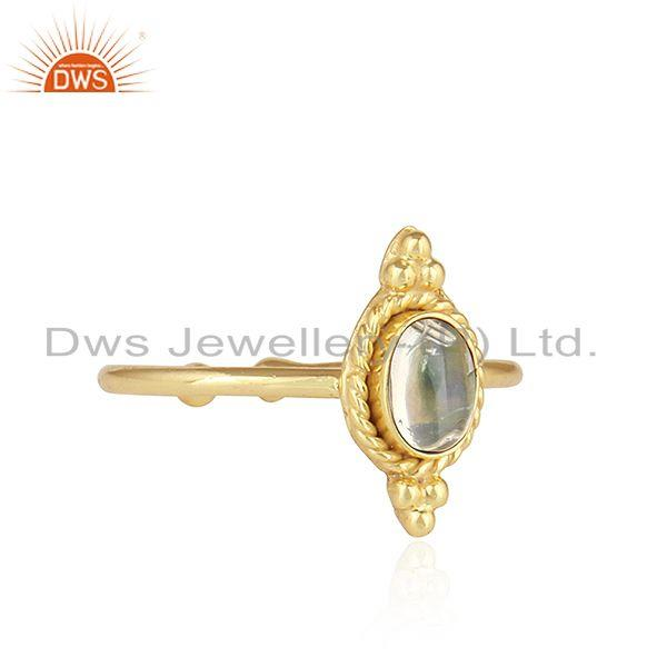 Exporter 18k Gold Plated Stackable 925 Silver Ethiopian Opal Gemstone Rings