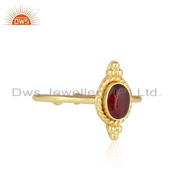 Exporter Handmade Gold Plated 925 Silver Garnet Gemstone Stackable Rings