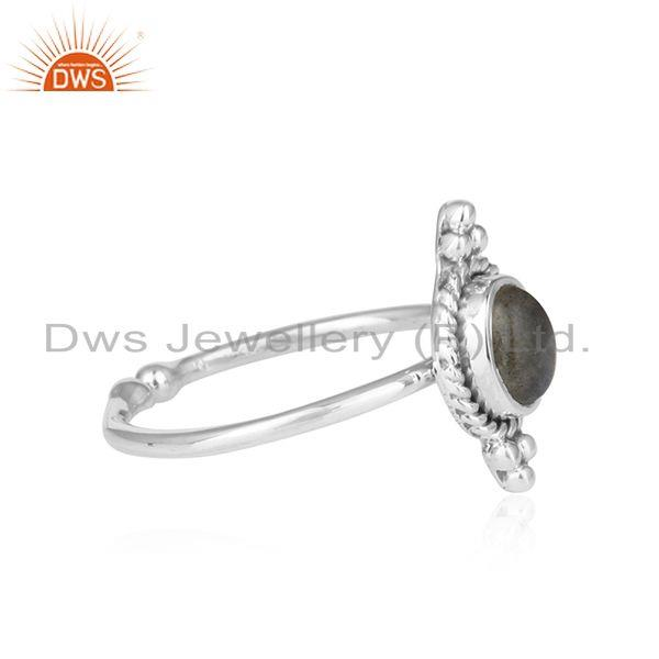 Exporter Labradorite Gemstone Oxidized 925 Silver Ring Jewelry For Girls