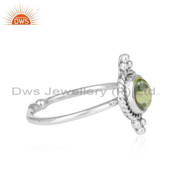 Exporter Peridot Gemstone Antique Design 92.5 Sterling Silver Ring Jewelry