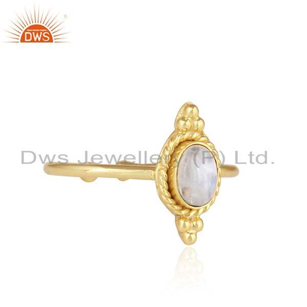 Exporter Rainbow Moonstone Stackable Gold Plated Silver Designer Rings