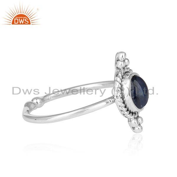 Exporter Blue Sapphire Gemstone Oxidized Sterling Silver Antique Rings