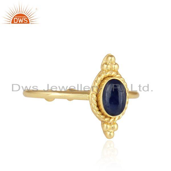 Exporter Blue Sapphire Designer Gold Plated 92.5 Silver Satckable Rings
