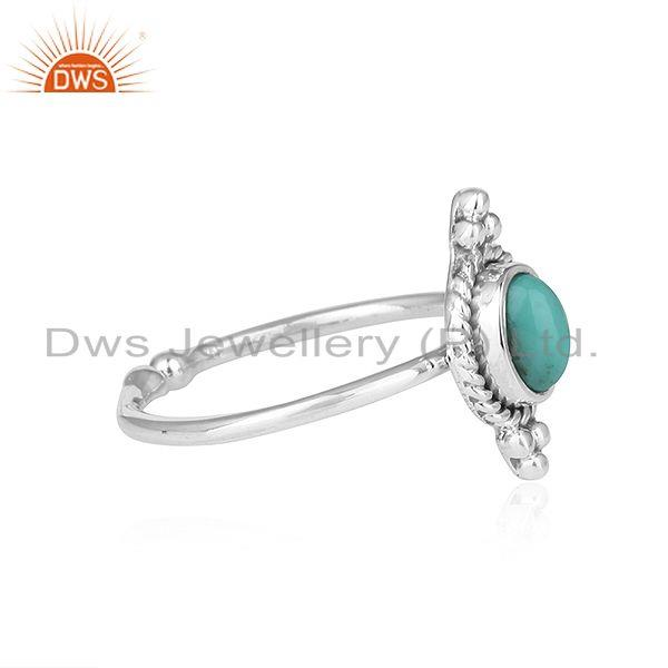 Exporter Arizona Turquoise Gemstone Oxidized Sterling Silver Ring Jewelry