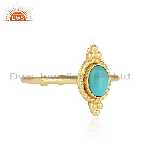 Exporter Arizona Turquoise Gemstone Stackable Gold Plated 925 Silver Rings
