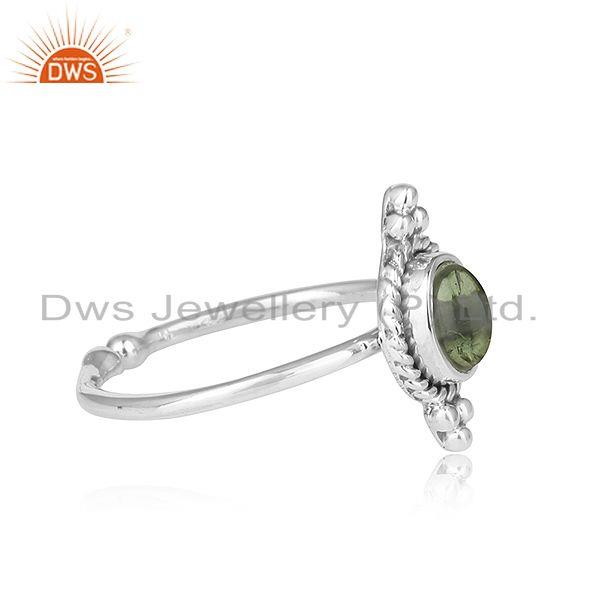 Exporter Green Tourmaline Gemstone Antique Design Oxidized Silver Rings