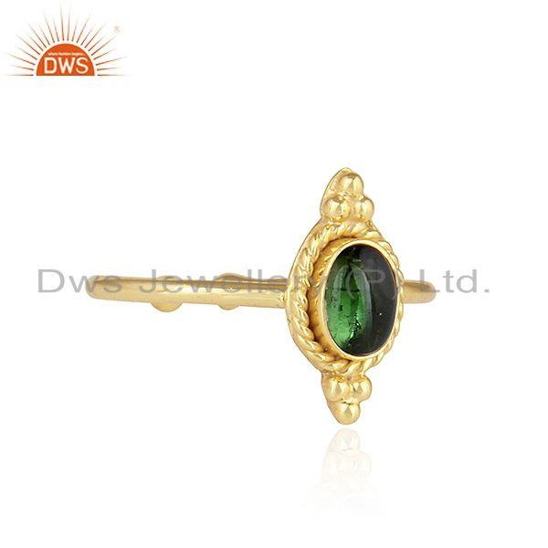 Exporter Gold Plated 92.5 Silver Green Tourmaline Gemstone Rings Jewelry