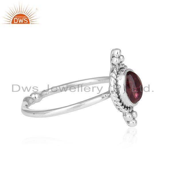 Exporter Pink Tourmaline Gemstone Oxidized Sterling Silver Ring Jewelry