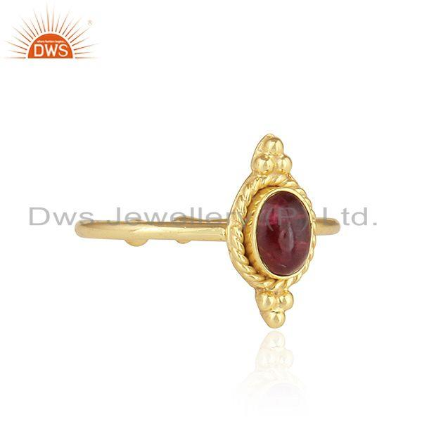 Exporter Pink Tourmaline Gemstone Gold Plated 92.5 Silver Stackable Rings
