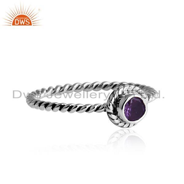 Exporter Twisted Antique Design Oxidized Silver Amethyst Gemstone Rings