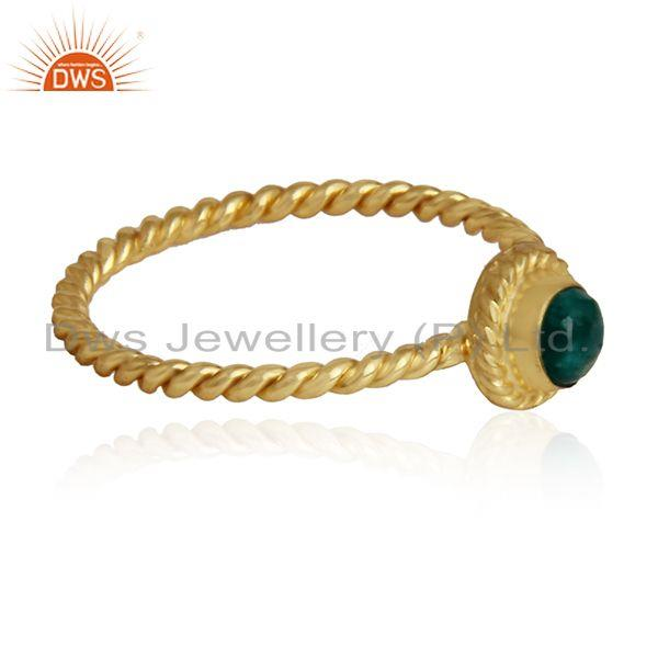 Twisted gold plated 925 silver amazonite gemstone ring jewelry