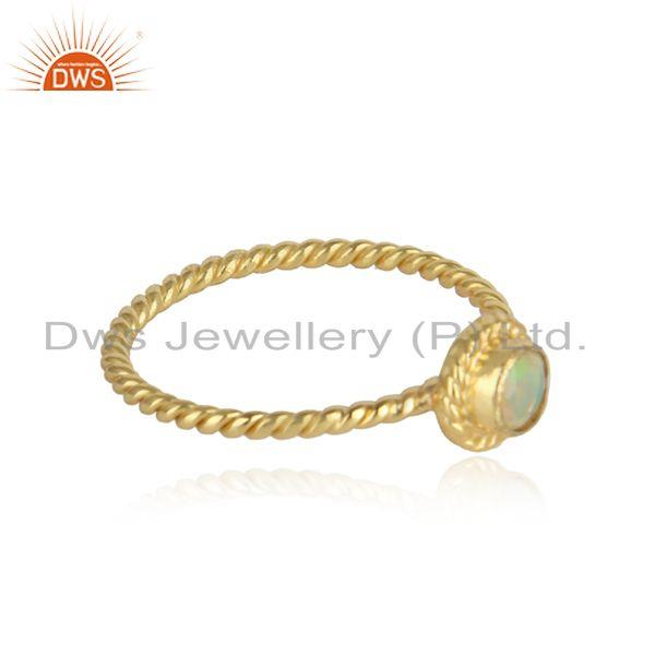 Twisted gold plated designer silver ethiopian opal gemstone rings