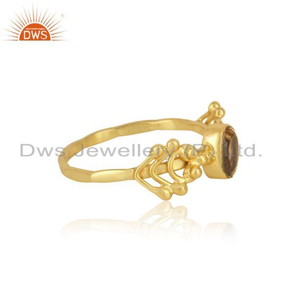 Designer gemstone ring in yellow gold on silver 925 and citrine
