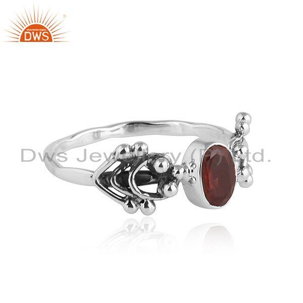 Exporter Natural Garnet Oxidized Silver 92.5 Silver Womens Ring Jewelry