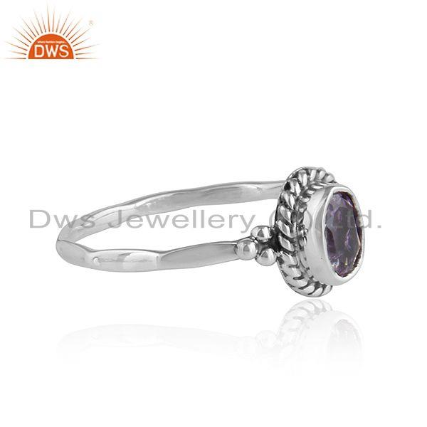 Exporter Black Oxidized Sterling Silver Designer Amethyst Rings Jewelry