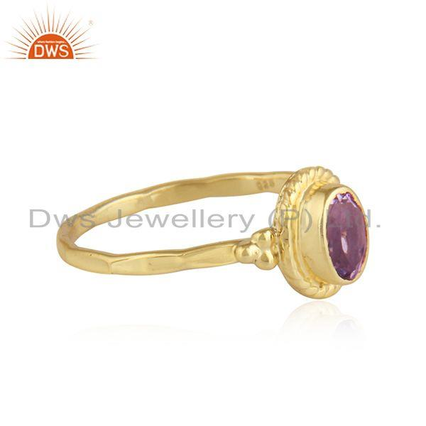 Exporter Yellow Gold Plated Designer Silver Amethyst Gemstone Ring Jewelry