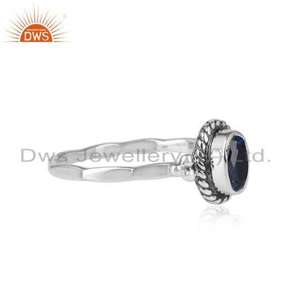 Blue corundum gemstone womens antique oxidized 925 silver rings