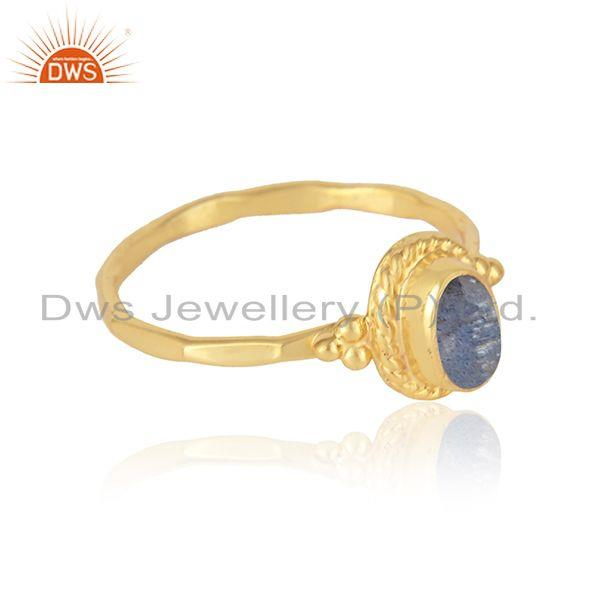 Designer ring in yellow gold on silver 925 and labradorite