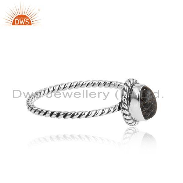 Exporter Oxidized Twisted Silver Black Rutile Gemstone Stackable Rings