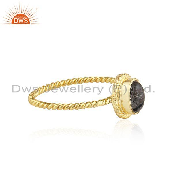 Exporter Black Rutile Gemstone Twisted Silver Gold Plated Stackable Rings