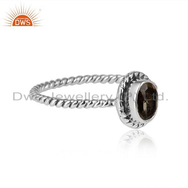 Oxidized sterling silver twisted design citrine gemstone rings