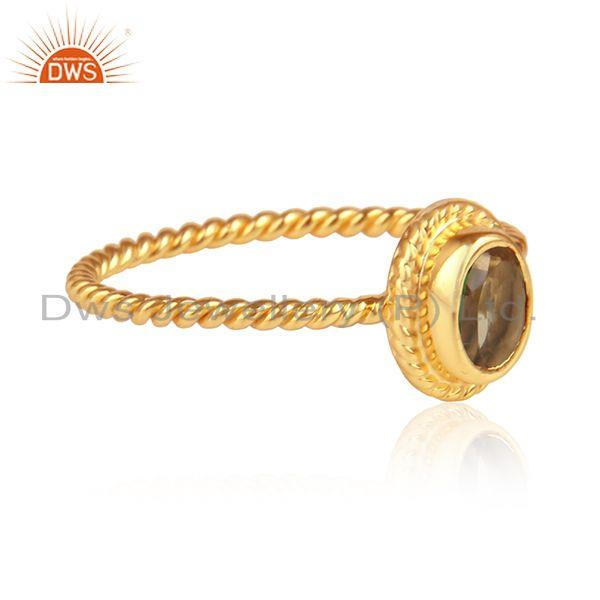 Citrine gemstone twisted design gold on 925 silver rings jewelry
