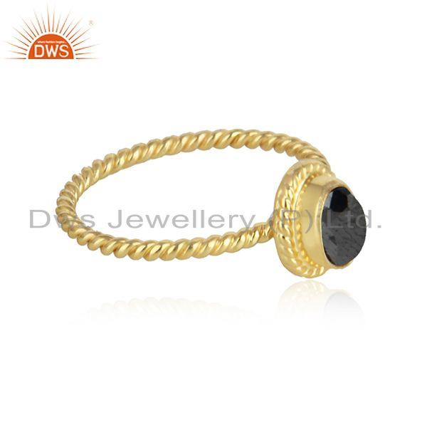 Exporter of Hematite gemstone womens 18k gold plated twisted silver rings